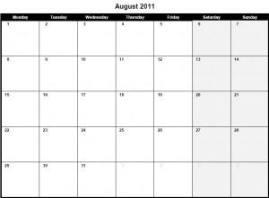 Printable PDF August 2011 Calendar