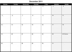 Printable PDF December 2011 Calendar