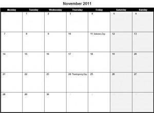 Printable PDF November 2011 Calendar