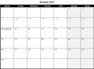 Printable PDF October 2011 Calendar