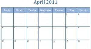 Printable blank pdf April 2011 monthly calendar