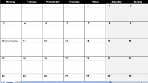 october 2011 Printable Monthly Calendar Template