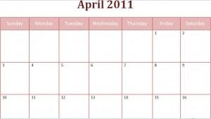 printable april 2011 calendar with holidays