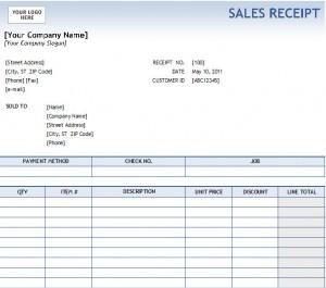 Excel Sales Receipt