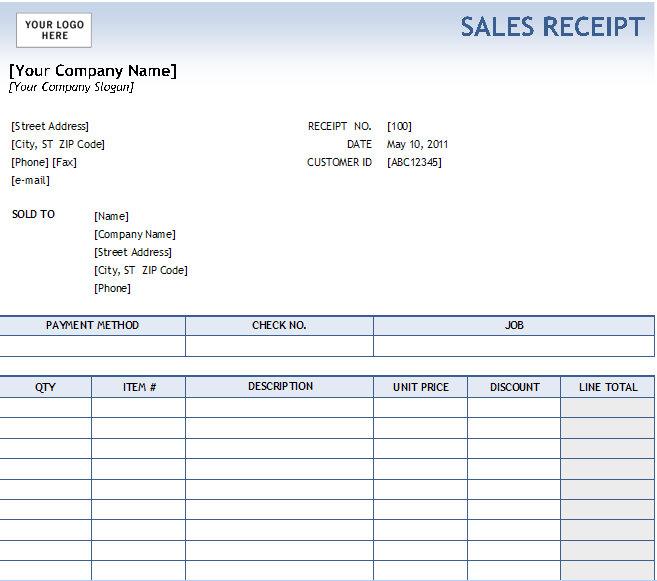 Excel Sales Receipt Excel Receipt Template Cash Receipt Excel
