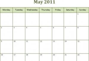 Printable Blank PDF May 2011 Monthly Calendar