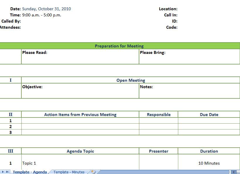Sample Meeting Agenda Template Business Meeting Agenda