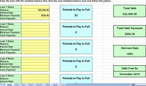 debt snowball consolidation calculator excel spreadsheet