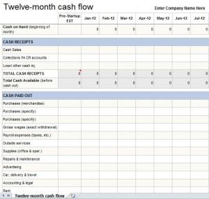 12 month cash flow statement excel template