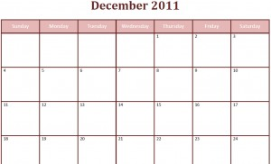 Printable Blank PDF December 2011 Monthly Calendar