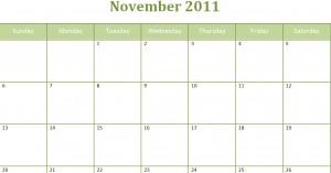 Printable Blank PDF November 2011 Monthly Calendar