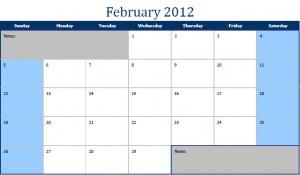 Printable PDF February 2012 Calendar