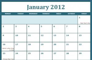 Printable PDF January 2012 Calendar