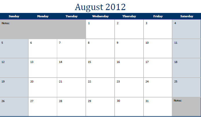 August 2012 Printable Monthly Calendar Template