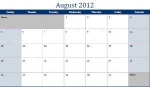 Printable PDF August 2012 Calendar