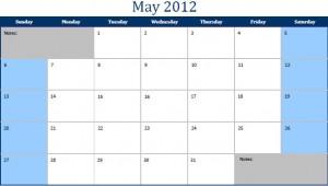 Printable PDF May 2012 Calendar