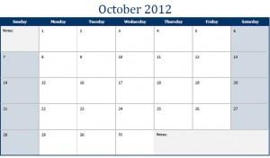 Printable PDF October 2012 Calendar