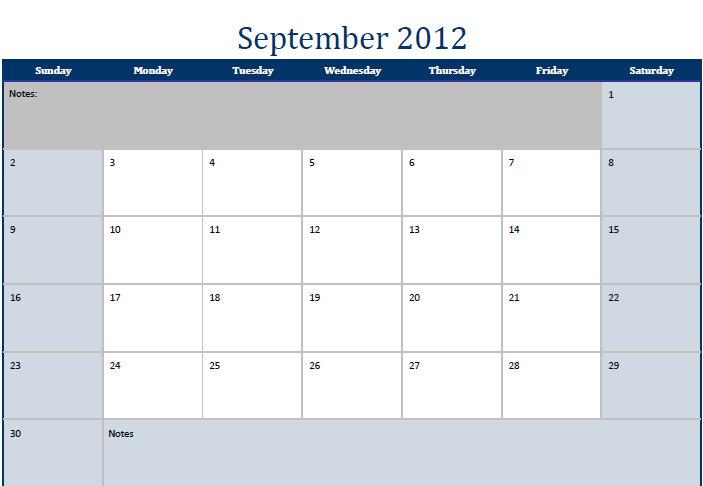 September 2012 Printable Monthly Calendar Template
