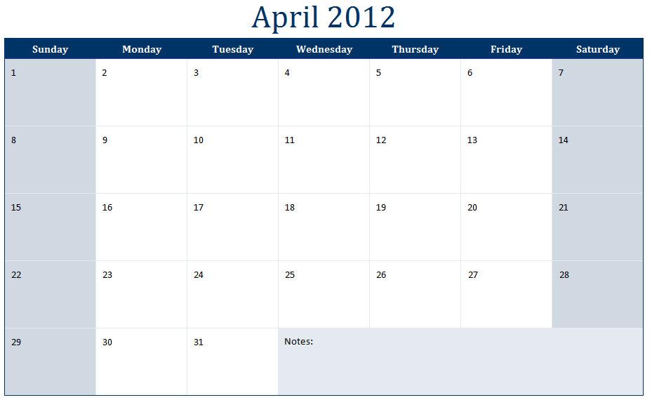 April 2012 Printable Monthly Calendar Template