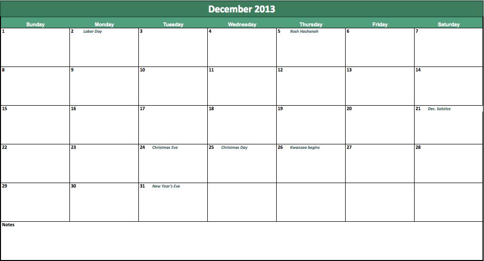 free 2013 monthly calendar