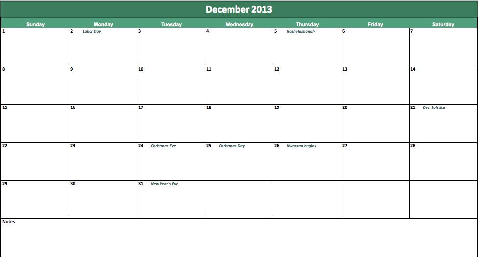 free december 2013 calendar