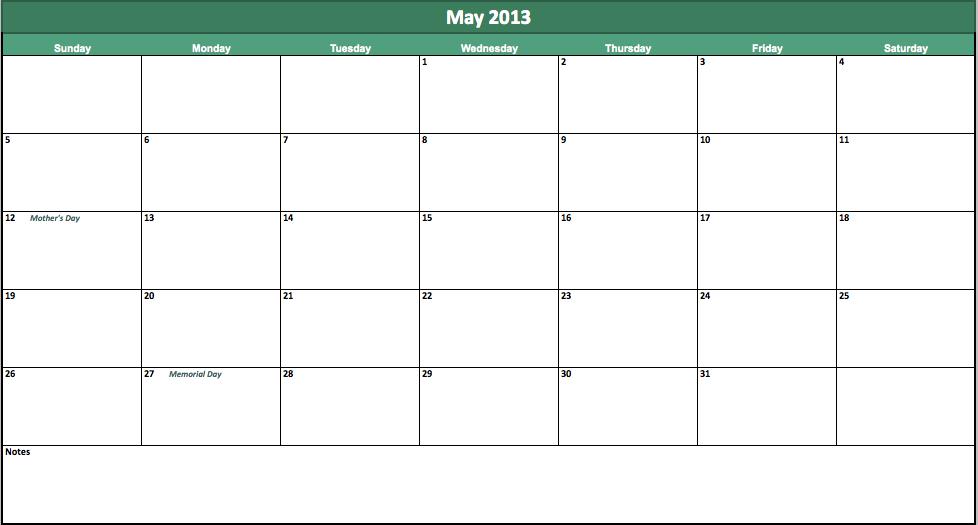 free may 2013 calendar