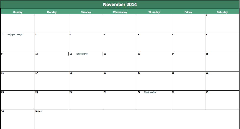 november 2014 calendar template