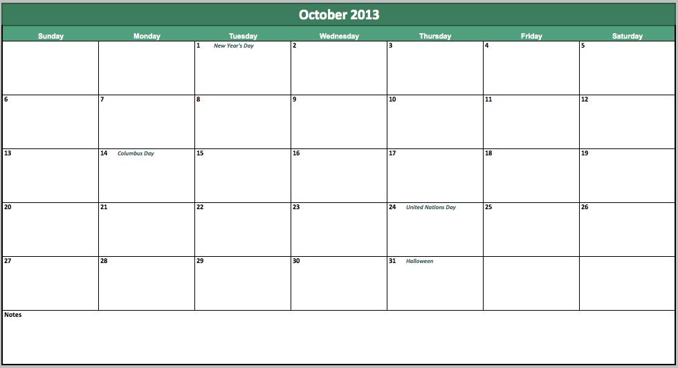 free october 2013 calendar
