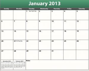 free printable pdf 2013 holiday calendar