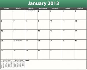 free printable pdf 2013 monthly calendar