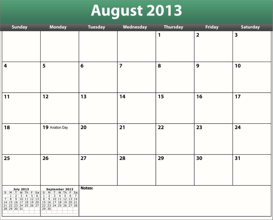 printable pdf august 2013 calendar template