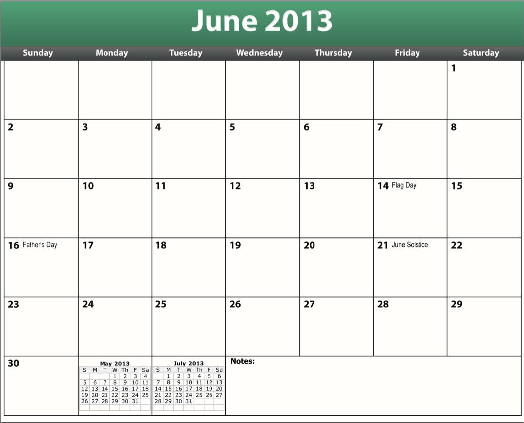 printable pdf june 2013 calendar template
