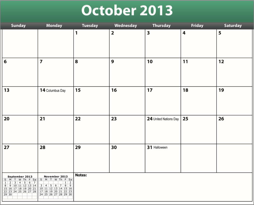 complimentary printable pdf october 2013 calendar