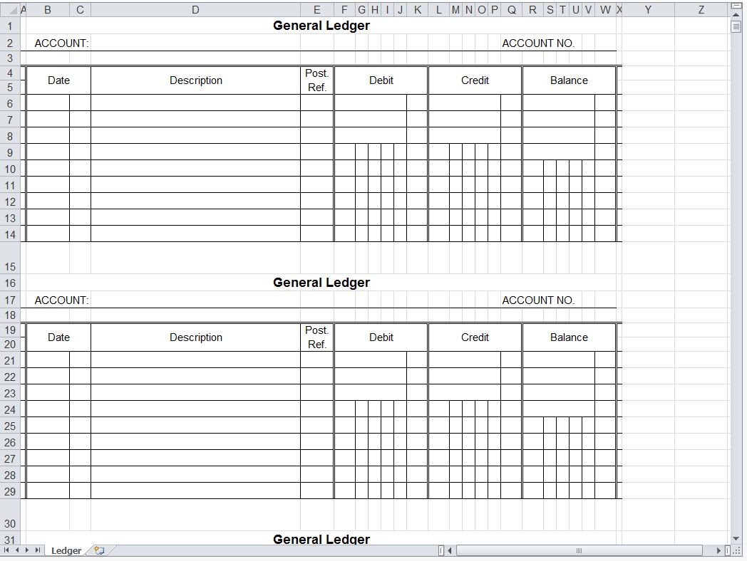 It is an image of Printable Ledger Sheet throughout small business