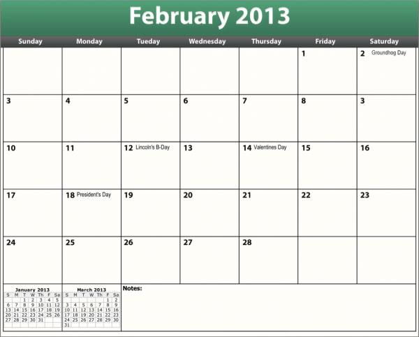 free printable pdf february 2013 calendar