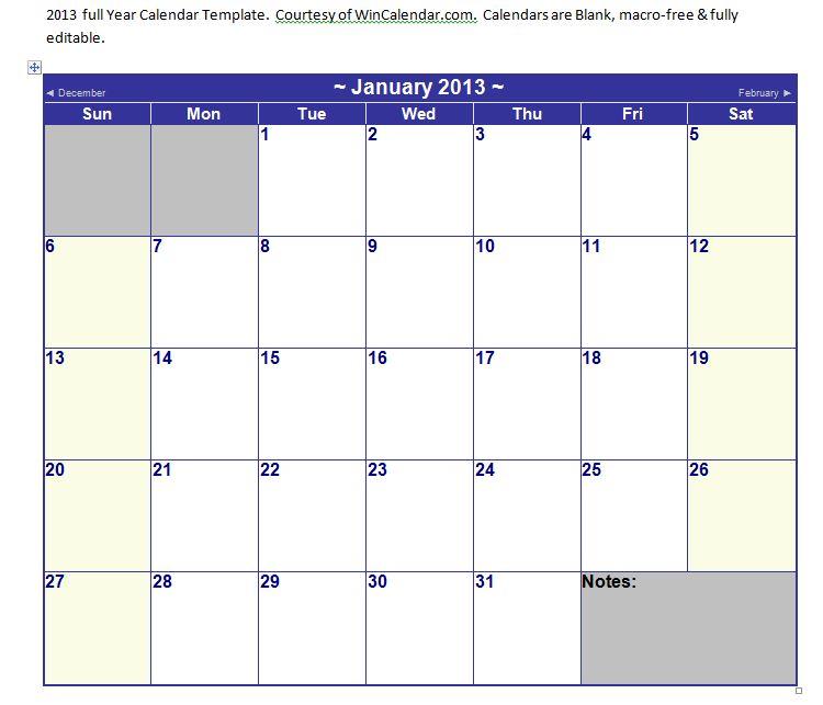 Microsoft Word Calendar Template 2013 Microsoft Word 2013 Calendar Template