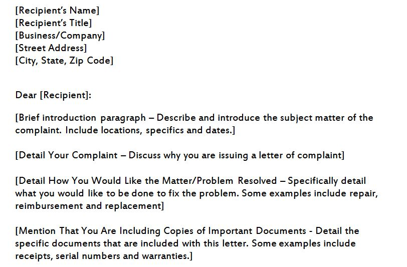 plaint Letter Template