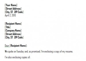 screenshot of the cover letter template word sheet
