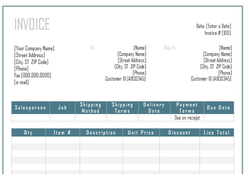 Invoice Template Word Word Invoice Template