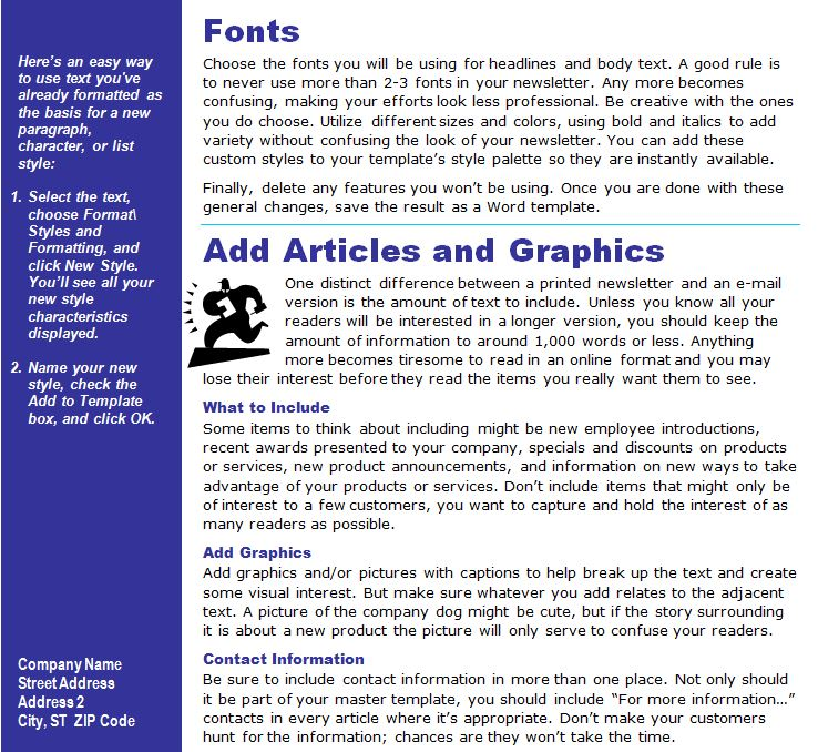 Newsletter Template Word from MyExcelTemplates