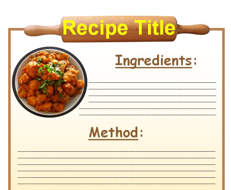 Word Recipe Book Template  CityEsporaCo