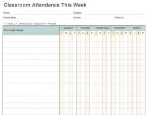 Class Attendance Template screenshot