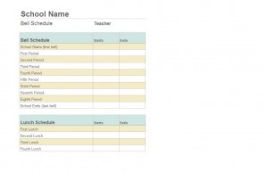 Screenshot of the Class Schedule Template