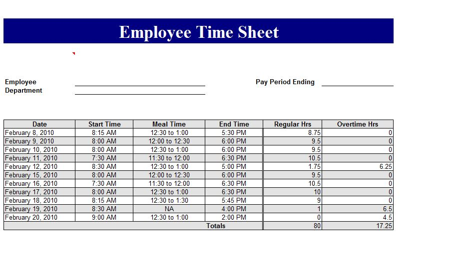 Employee Timecard Employee Timecard Template