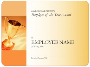 Photo of the Employee of the Year Certificate