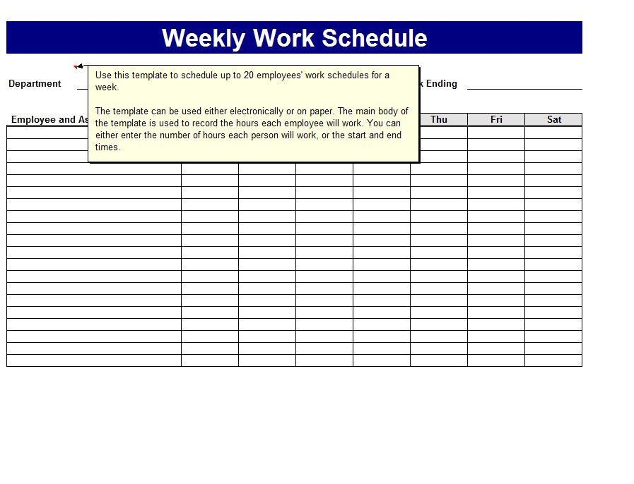 Weekly Work Schedule Template | Work Schedule Template Weekly