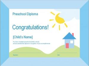 Preschool Diploma Template photo