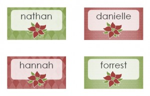 Free Christmas Dinner Place Cards