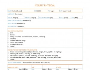 Physical Exam Form Template