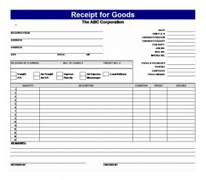 Download the Receipt for Goods template
